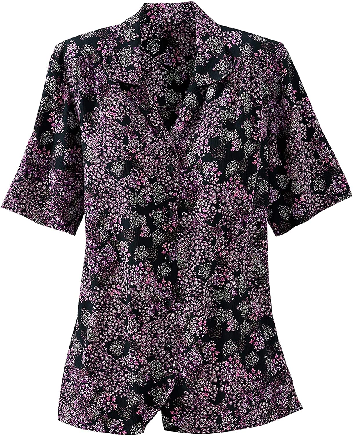 Petites Donnkenny by National - Printed Camp Shirt - No-Iron Wrinkle-Resistant, Button-Front, Shoulder Pads