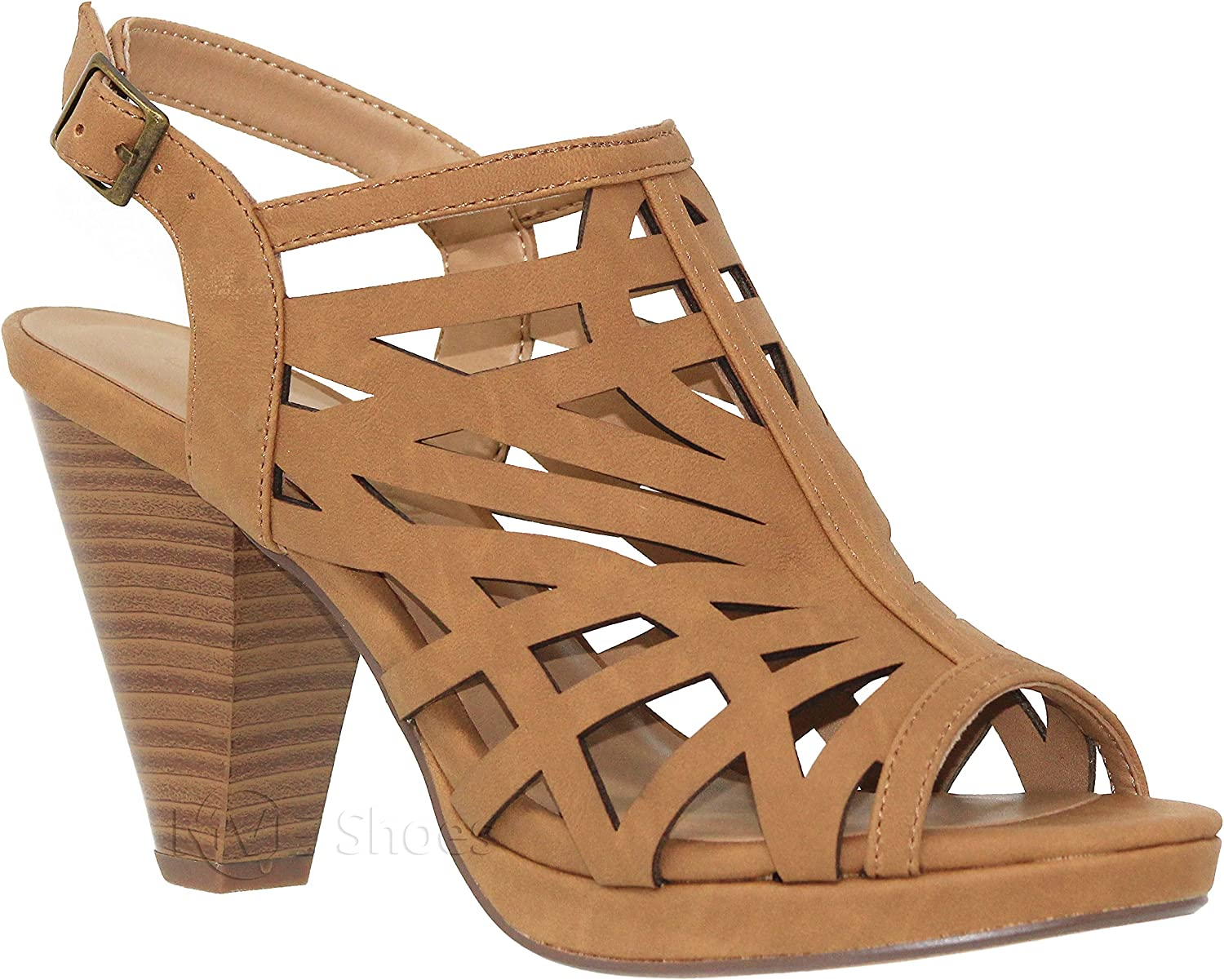 MVE Shoes Open Toe Perforate Outlet sale feature Laser TAN Cut Heeled Sandal Max 63% OFF Chunky