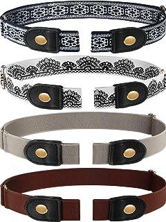 4 Pieces No Buckle Stretch Belt Buckless Belt Invisible Elastic Belt Unisex for Jeans Pants (Color 3)