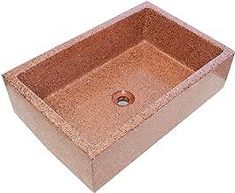 Terrazos Cantalejo Pilón Fregadero o Pila de Piedra parecida al Granito o Mármol de 70x46x21 cm. (Rojo)
