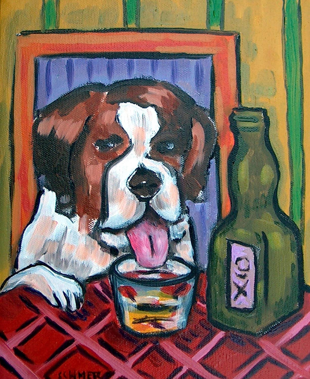 st. Bernard with Whiskey shot art print dog Recommendation half signed