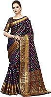Cotton Shopy women's Kanjivaram Art Silk Blend Checked Jacquard Saree with Blouse Piece