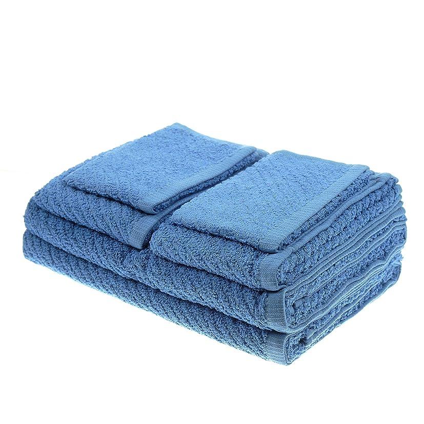 ディスクに同意するレッスン(Medium Blue) - White Dove Classic Value Towel Set - 6 PCS Included: 2 Bath Towels, 2 Hand Towels, & 2 Washcloths - Cotton/Poly Blend for Maximum Performance - Lightweight - Quick Dry - by Unity (Medium Blue)