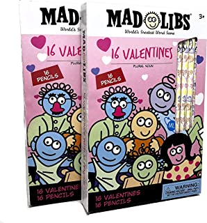 Mad Libs Valentines cards with pencils. School classroom exchange gift pack. TWO PACKS of 16 valentines and 16 pencils