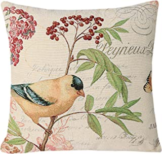 Simple SimpleDecor Jacquard Bird On The Tree Accent Decorative Throw Pillow Case Hand Painted Cushion Cover Cute Traditional Chinese Painting 18X18