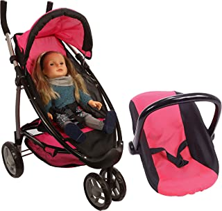 Mommy and Me Doll Stroller Foldable Doll Jogger 2 in 1 Stroller and Infant Seat Carrier with Basket, Swiveling Wheels and FREE Carriage Bag