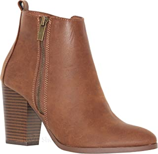 MVE Shoes Women's Chunky Heel Side Zipper Comfy Ankle Boots