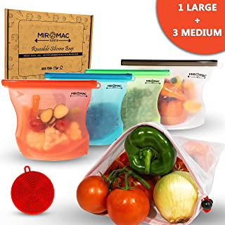 Silicone Reusable Food Bag | NEW INNOVATIVE DESIGN (1 Large + 3 Medium) Silicone Bag + Comes with 2 BONUS ITEMS Scrubber Sponge & Produce Storage Bag | Airtight Silicone Bags Best for Freezer and Oven
