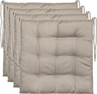 comprar comparacion BrandssellerCojín decorativo de asiento para silla de jardín, 9 pespuntes, varios diseños, poliéster, pardo, 4er-Paket