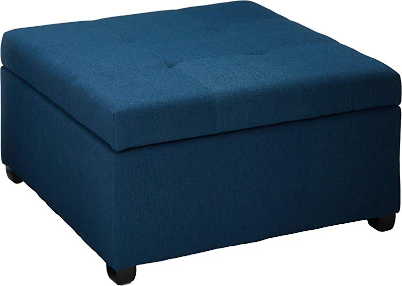 Christopher Knight Home 299392 Living Carlyle Dark Blue Fabric Storage Ottoman 35 00 D X 35 00 W X 18 50 H