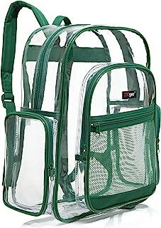 Transparent PVC Book Bag, Clear Kids School Backpack, Green Trim