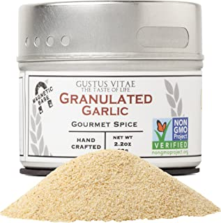 Granulated Garlic - Non GMO Project Verified - Hand-Packed In Magnetic Tins - Sustainably Sourced - Grown in USA - All Natural - Not Irradiated - Crafted By Gustus Vitae - 2.2 Oz Net Weight