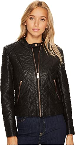 "Blakely 21"" Faux Bubble Leather Jacket"