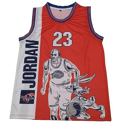 830c00e7bf57 Michael Jordan Space Jam  23 Tune Squad Movie Basketball Jersey Men Red