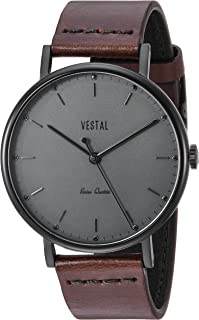 Vestal Sophisticate Leather Stainless Steel Swiss-Quartz Watch with Man Made Strap, Brown, 20 (Model: SP42L09.DBBK)