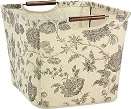 Household Essentials Medium Tapered Storage Bin with Wood Handles, Floral Pattern