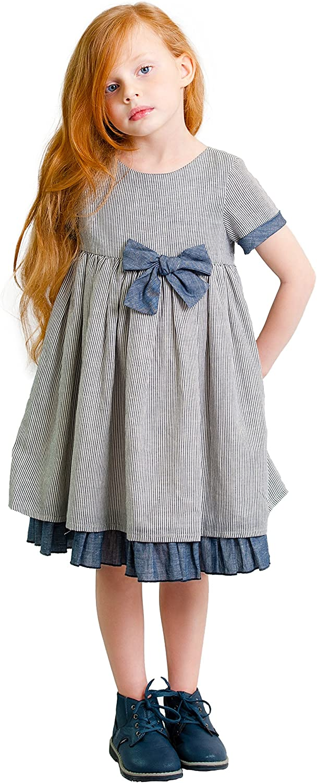 Dakomoda Girls' Philadelphia Mall Ranking TOP18 Navy Bow Striped Party Blen - Cotton Linen Dress