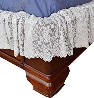 Home-X - White Lace Scalloped Elastic Bed Wrap Around, Easy Fit, Dust Ruffle Bed Skirt | Queen/King