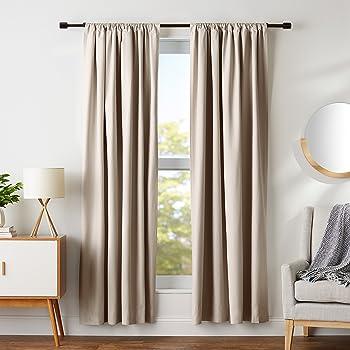 "AmazonBasics Room Darkening Blackout Window Curtains with Tie Backs Set, 42"" x 84"", Taupe"