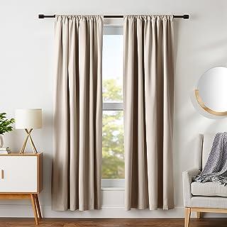 "Amazon Basics Room Darkening Blackout Window Curtains with Tie Backs Set - 52"" x 84"", Taupe"