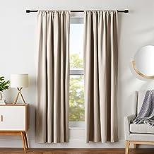 """AmazonBasics Blackout Curtain Set - 52"""" x 84"""", Taupe"""