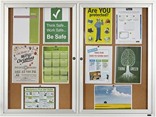 Quartet Enclosed Cork Indoor Bulletin Board, 4 x 3 Feet, Aluminum Frame (2364)