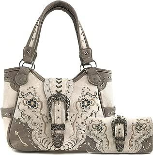 Buckle Floral Embroidered Studded CCW Concealed Carry Shoulder Purse Handbag