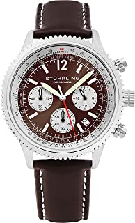 Stuhrling Original Monaco Men's Quartz Watch with Brown Dial Analogue Display and Brown Leather Strap 669.03