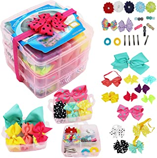 """3 Layer Gift Box For Toddlers Baby Girls Hair Accessories,Included 4"""" Baby Headbands,Girls 6"""" Cheer Bows Clip,Teeager Extra Large 8"""" Hair Bows,Elastic Tie,Flower Clips,Metal Clips(All in 1)"""