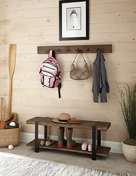Stowe 48 L Reclaimed Wood Entryway Coat Hook And Bench Set Natural Finish