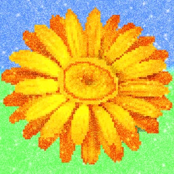 Flowers Glitter Pixel Art Color by Number - Mandalas Coloring Pages