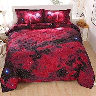 Wowelife Galaxy 3D Printing Comforter Set Red Full Galaxy Bedding Sets 5 Piece with Comforter(Full, Crimson Galaxy)