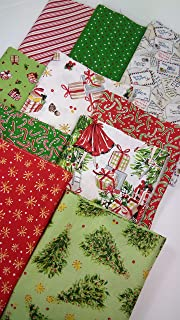 All The Trimmings Christmas Fabric Maywood Studio ~ 10 Fat Quarters Bundle 2.5 Yards