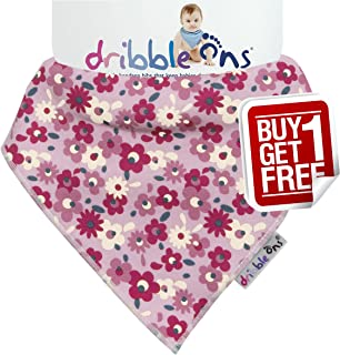 Sock Ons Dribble Ons Super Absorbant Bandanna Style Bibs, Pink Floral
