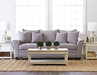 """Klaussner Home Furnishings Paxton Sofa with 4 Throw Pillows, 44""""L x 99""""W x 31""""H, Dove"""