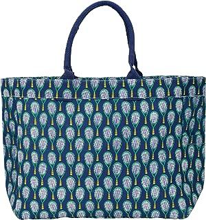 rockflowerpaper Wimbledon Tennis Racquet Navy Canvas Carryall Tote Shoulder Bag