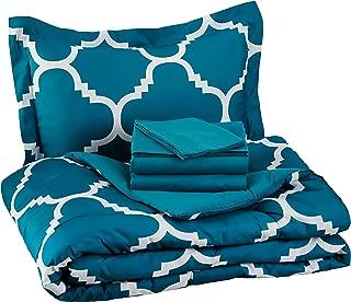 AmazonBasics 5-Piece Bed-In-A-Bag, Twin / Twin Extra-Long Bedding Comforter Sheet Set, Teal Trellis, Microfiber, Ultra-Soft
