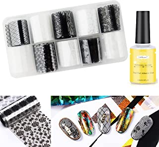 10 Styles Nail Art Black and White Lace Patterns Transfer Foil Sheets Set with Nail Art Foil Glue, Beauties Factory Nail A...