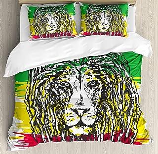 Ambesonne Rasta Duvet Cover Set, Ethiopian Culture Hair Style Lion Head Portrait Grunge Backdrop, Decorative 3 Piece Bedding Set with 2 Pillow Shams, Queen Size, Yellow Green