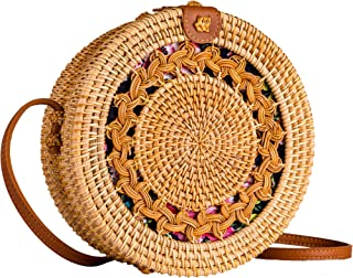 Straw Bag Boho Circle Crossbody Purse Rattan Hand Woven For Women Shoulder Crossbody Necessities Bags Wicker Purses In Summer Vacation With Flower Pattern - Yeasayer Bags