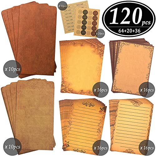 CenterZ Vintage Stationary Paper + Kraft Envelopes Set with Seal Stickers, 64pcs 4 Patterns 8.3 x 5.7 Writing Stationery Papers + 20pcs 2 Colors 7.9 x 4.7 Letter Envelope + 36pcs 2 Styles Rustic Seals