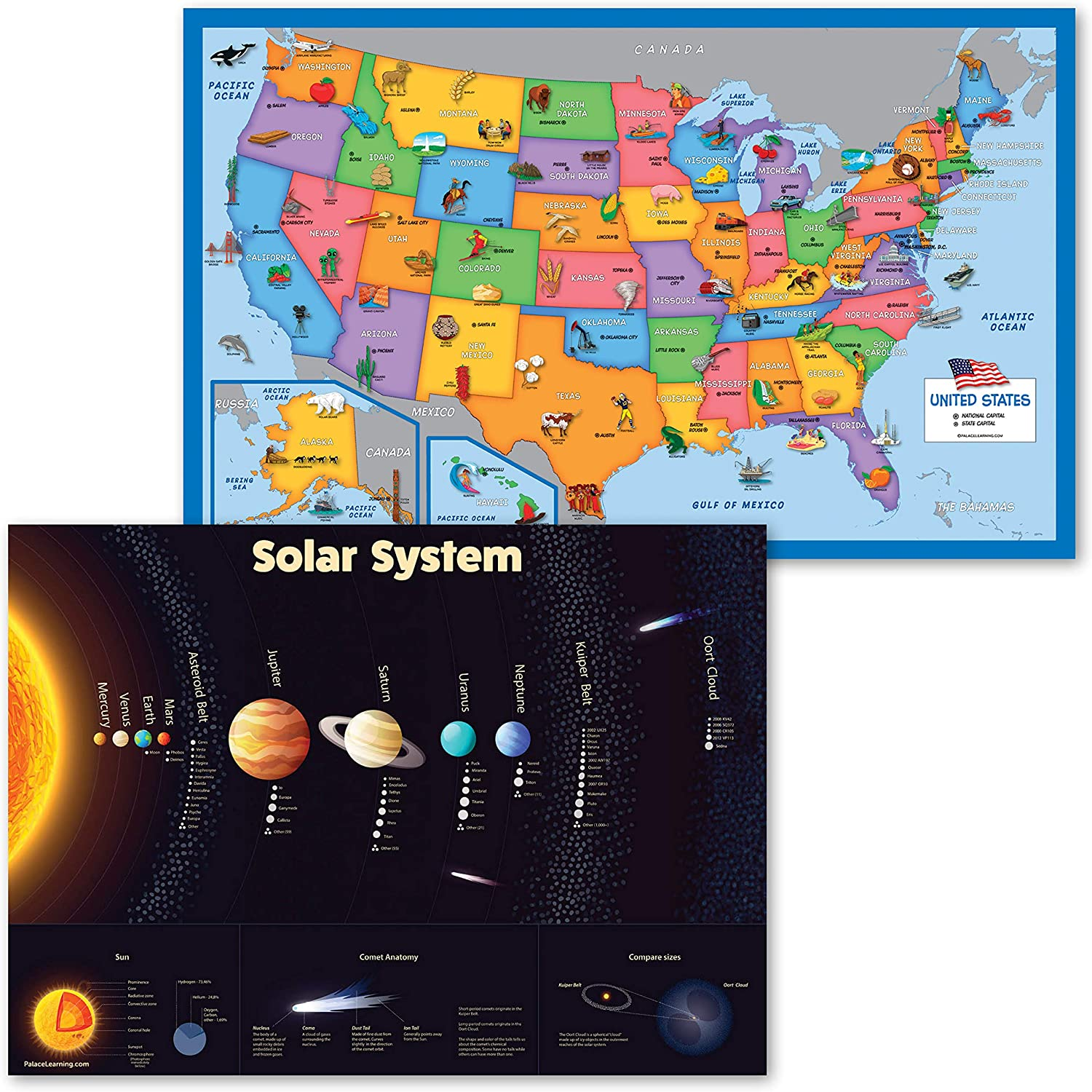 20 Pack   USA Map for Kids Illustrated + Solar System Poster L