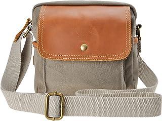 Canvas Camera Bag ZLYC Small DSLR Case Leather Trim Pouch Padded Insert Purse Vintage Shoulder Messenger Satchel for Women...