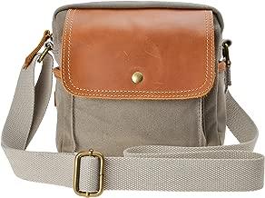 Canvas Camera Bag ZLYC Small DSLR Case Leather Trim Pouch Padded Insert Purse Vintage Shoulder Messenger Satchel for Women Men, Gray
