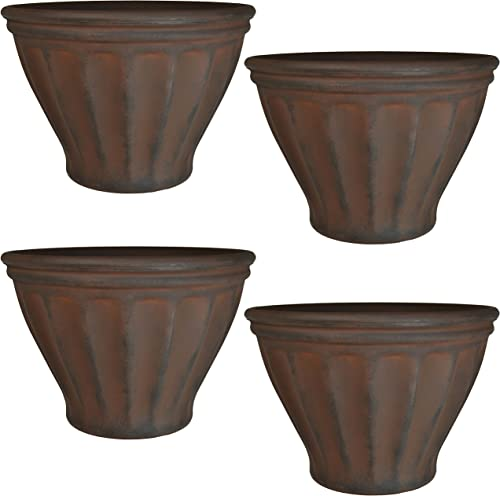 2021 Sunnydaze Charlotte high quality Flower Pot Planter, Outdoor/Indoor Extra-Durable discount Double-Walled Polyresin with UV-Resistant Rust Finish, Set of 4, 16-Inch Diameter outlet online sale