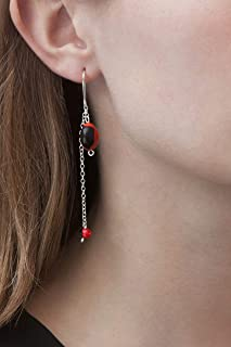 Dangle Drop Hook Sterling Silver 925 Earrings, Hold Two Red and Black Huayruro Seed, Peruvian 'Good Fortune' Double Chain, Polished finish, Handmade in Peru