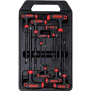 di POWCOG 16/pezzi chiave Torx a stella con impugnatura a T e chiave a brugola esagonale a sfera Set professionale di cacciaviti