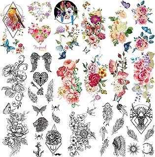 Yazhiji 41 Stuks Partij Mode Tijdelijke Tatoeages Waterdicht voor Mannen Vrouwen Volwassen Bloemen Woorden Stickers en Uit...