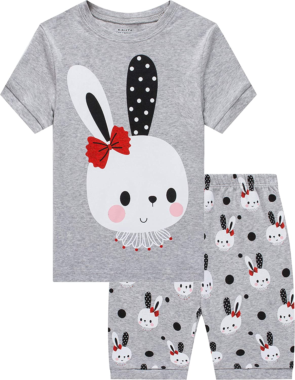 Girls Short Sleeve Pajamas Set Kids Short Pjs Sets Summer Cotton