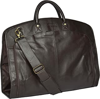 Real Luxury Leather Suit Dress Garment Carrier Bag HOL933 Brown